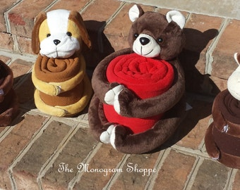 Animal, Bear, Dog, Monkey, with Matching Blankets, Boy, Girl, Velcro Stuffie, Easter, Free Monogramming