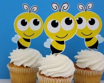 Bumble Honey Bee Die Cut Cupcake Topper (One Dozen)