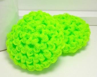 Neon Green Scrubbies, Reusable Scrubby, Handmade Scrubbies, Neon Green Scrubby, Scouring Pads, Pot Scrubber, Ecofriendly Kitchen - Set of 2