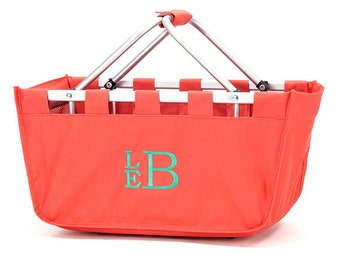 Personalized Market Tote - Monogrammed Basket - Coral Tote Embroidered