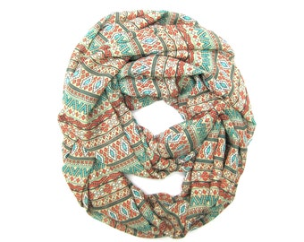 Aztec Infinity Scarf, Womens Scarf, Tribal Scarf, Eternity Scarves, Teen Scarf, Fashion Scarf, Womens Gift, Mother's Day Gift, Ready To Ship