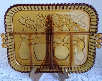 Amber Divided Relish / Tidbit Glass Tray with Fruit Design