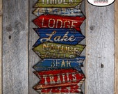 Lumberjack Signs - Camping Arrow Signs - Rustic Party Signs - Directional Signs - Printable (Lake Hunting Lodge Cabin Woodland Mountains)