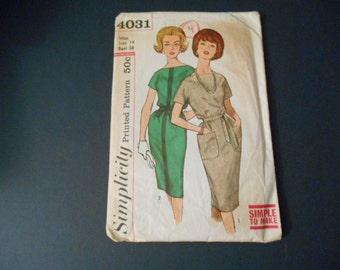 Simplicity  4031, Misses Vintage Dress,  Size 14