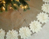 "65""  Burlap Christmas tree skirt with gold threads and ivory poinsettias. FREE SHIPPING"
