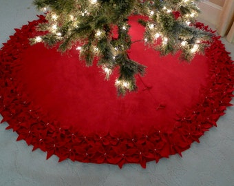 "60' Christmas Tree Skirt in a Deep Red Premium felt with Hand cut and sewn flowers.  ""FREE SHIPPING"""