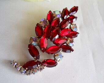 Vintage Leaf Style Brooch Ruby Red and AB Rhinestone Pin