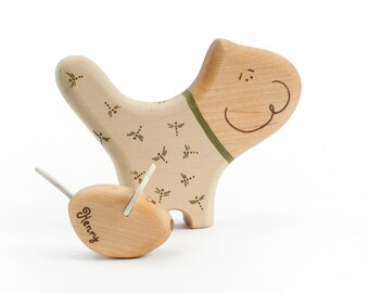 Personalized Wooden Toy, Organic Baby Toy, Cat and Mouse Figures