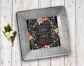 1st anniversary gift - wedding invitation plate - decoupage wall hanging - unique couples gift  - personalized keepsake - chalkboard