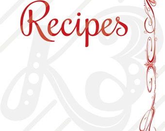 Red Abstract Curvy Cook Book Page Print Outs with Dot and Line Accents