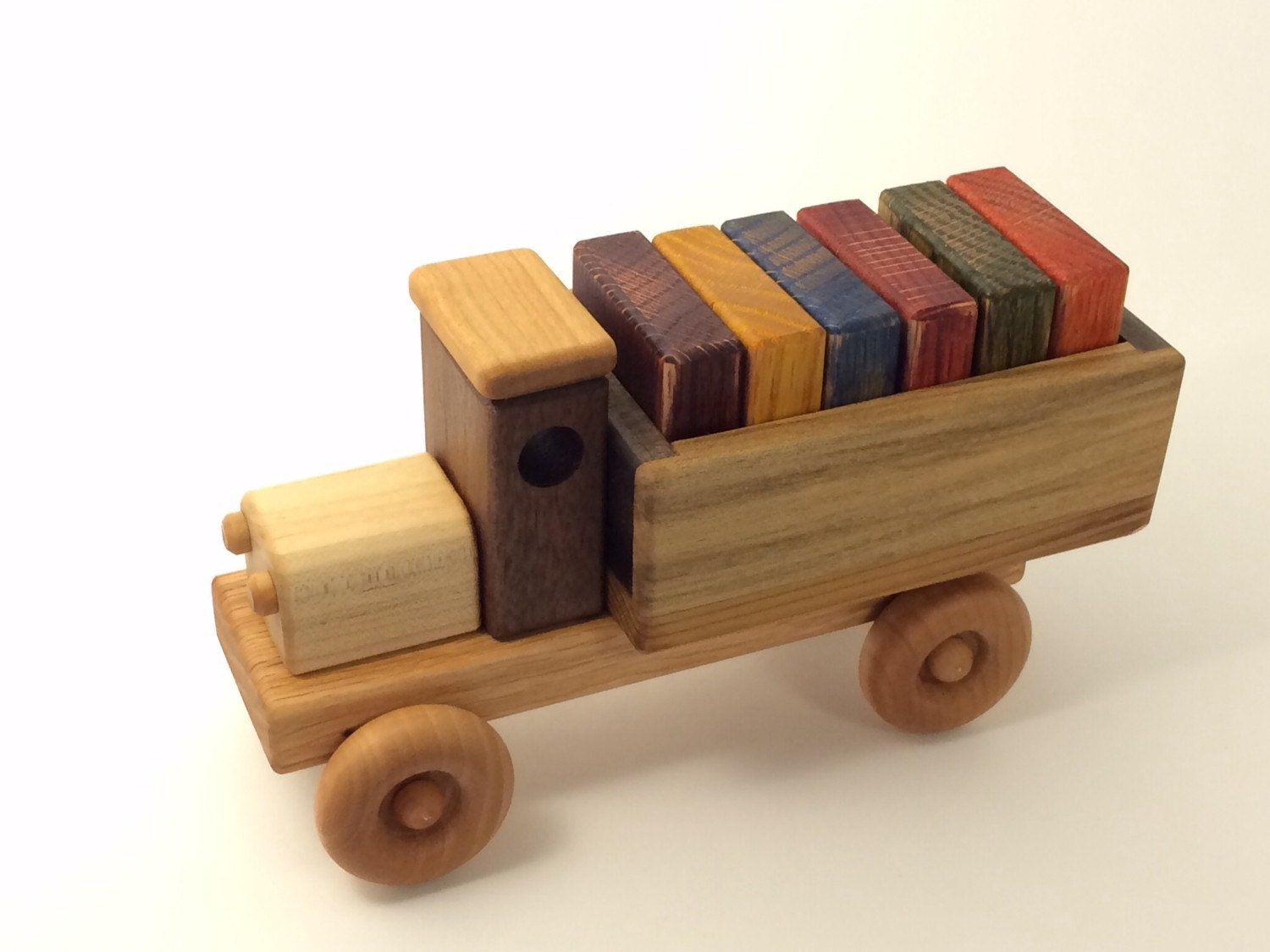Wooden Toy Cars And Trucks : Wooden toy truck w colored blocks