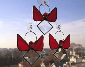 Glass Art Suncatcher|Stained Glass Angel Suncatcher|Birthstone Angel|July|July Angel|Ruby|Angel Suncatcher|Handcrafted|Made in USA