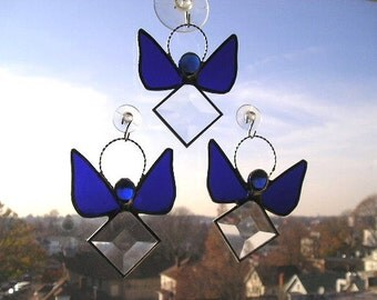 September Angel|Stained Glass Suncatcher|Angel|Sapphire Angel|Blue|Art & Collectibles|Glass Art|Suncatchers|Handcrafted|Made in USA