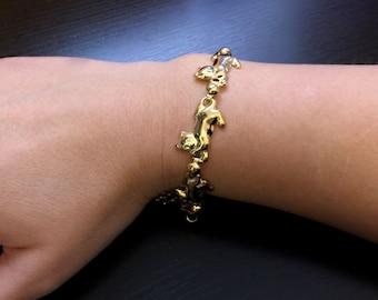 Cute Cat Bracelet-Gold Tone Cat Jewelry