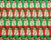 15% OFF Vintage Christmas Wrapping Paper, Gift Wrap, Adorable Snowmen Holding Candy Canes and Brooms