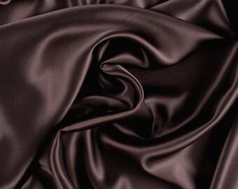 """42"""" Wide Stretch Silk Charmeuse Dark Brown"""