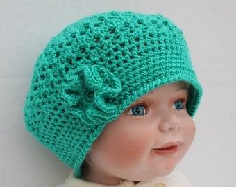 Clearance. Ocean Blue Crochet Baby Hat, Crochet Teal Baby Hat, Summer Baby Hat, Crochet Baby Beret, Teal Tam