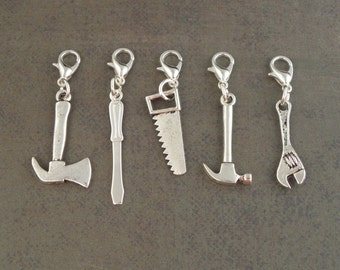 TOOLS Charm Set  1 - For The Create Your Own The Walking Dead Zombie Apocalypse Charm Bracelet - Set Of 5 - Zombie Survival Kit Jewellery