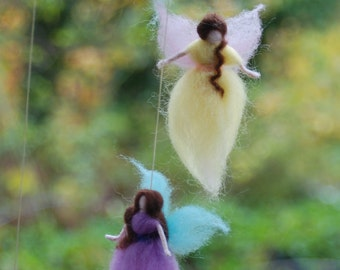 Tiny Winged Fairy Mobile, 6 Needle Felted Fairies Handmade Baby Mobile Nursery Decoration
