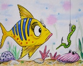 "Funny Fish Original Watercolor 8"" x 10"""