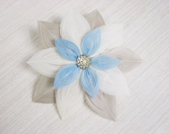 Blue, white, and champagne Peacock Feather Flower Fascinator Clip with Tarnished Silver Filigree Accent Piece and Pearl