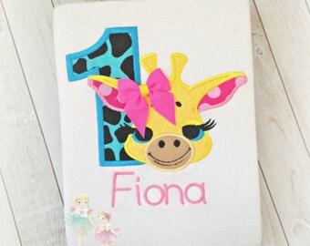 Giraffe birthday shirt - Safari birthday shirt - zoo birthday shirt - 1st birthday shirt - custom embroidered girls giraffe shirt