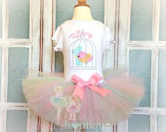 Little bird birthday outfit - bird tutu outfit - 1st birthday bird themed birthday outfit - girls birthday outfit - pink bird tutu outfit