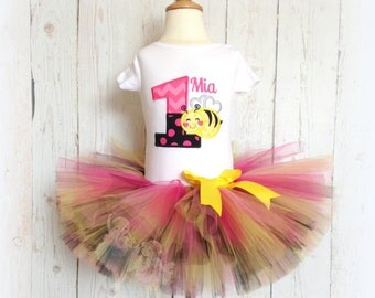 Bumblebee Birthday Tutu Set outfit- Little Bug- Pink, Black, and Yellow Tutu- Bumble Bee