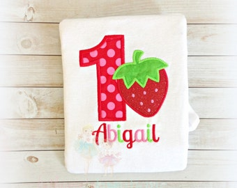 Strawberry Birthday shirt - 1st birthday shirt - (any age) - strawberry themed - custom embroidered birthday shirt for girls
