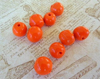 Polymer Clay Beads, Orange Beads, Round Beads, Polymer Clay Supplies, Polymer Clay Jewelry, Custom Polymer Clay, Fall Colors, Halloween Bead