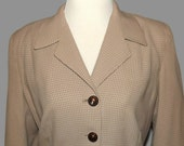 Vintage Late 40s Two Piece Ladies Skirt Suit Dress Tan Check  Gingahm TypePrint