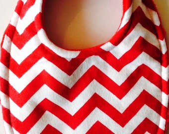 Baby Bib in Red and White Chevron Bib triple Layer Super Absorbent