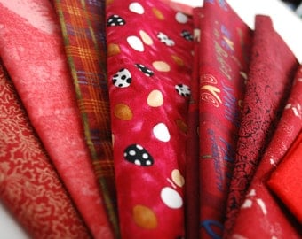 Fabric Scraps Assortment Home Decor Cotton Fabric Mix Red