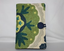 Kindle Fire Voyage, Kindle Fire HD 6, Kindle Fire 5th Cover, Kindle Fire HDX Case, iPad Mini -  Blue, Green, Tan Floral Deck Weight Fabric