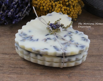 Lemon Lavender Premium beeswax melting tarts soy and beeswax tarts lavender flowers heart favors wedding favors bridesmaid gift montana made