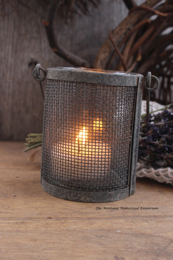 RESERVED For Gail Rustic Metal Wire Tea Light Candle Holder