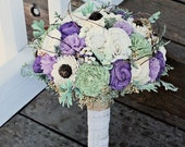 Luxe Bridal Bouquet, Sola Flowers, Alternative Bouquet, Purple Green Ivory, Dusty Miller, Wedding Bouquet, Preserved Flowers, Rustic Wedding