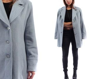 Vintage 1990s Light Blue PASTEL COAT . Cocoon Mini Wool Blend Long Jacket Hippie Bohemian 90s . Medium Large