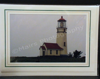 Lighthouse, Fog, Masculine, Red & White, FATHER'S DAY Card, Birthday Card, Eco-Friendly All Occasion, Blank Greeting Card, Photo Note Card