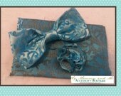 Aqua Swirl Bow Tie With Pocket Square and Lapel Pin