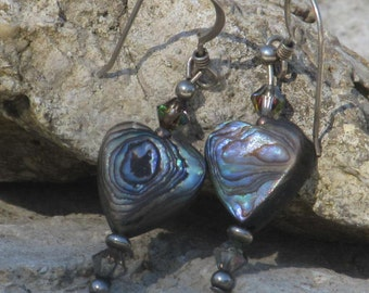 Sterling silver abalone crystal dangle earrings