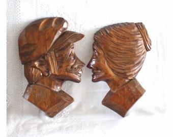 Georges Beauregard. Canadian folk art wood carving of an elerly couple.