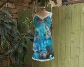 SALE/ Eco/ Upcycled/ Vintage Slip/ Sexy/ Fairy/ Mermaid/ Surfer Girl/ Boudoir/ Hippie/ Boho/ Woodland/ Tie Dye Slip Dress