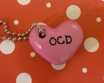 OCD Pink Heart Polymer Clay Conversation Heart Charm Keychain Psychology Disorder Mental Health Valentine Gift Ooak Crazy