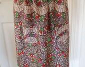 Vintage 1930s Half Apron Pinny Faux Silk Rayon Mauve Green Black Border Design on Palest Pink