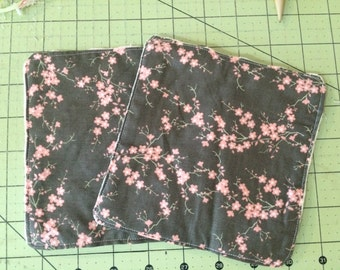 SALE Baby Girl Car Seat Stroller Strap Cover with Minky grey with pink buds or Bright Pink Flowers // In Stock Ready to Ship