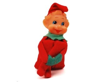 Vintage Christmas Elf Doll // 1950's Red & Green Felt, Knee Hugger, Pixie Ornament Shelf Decoration