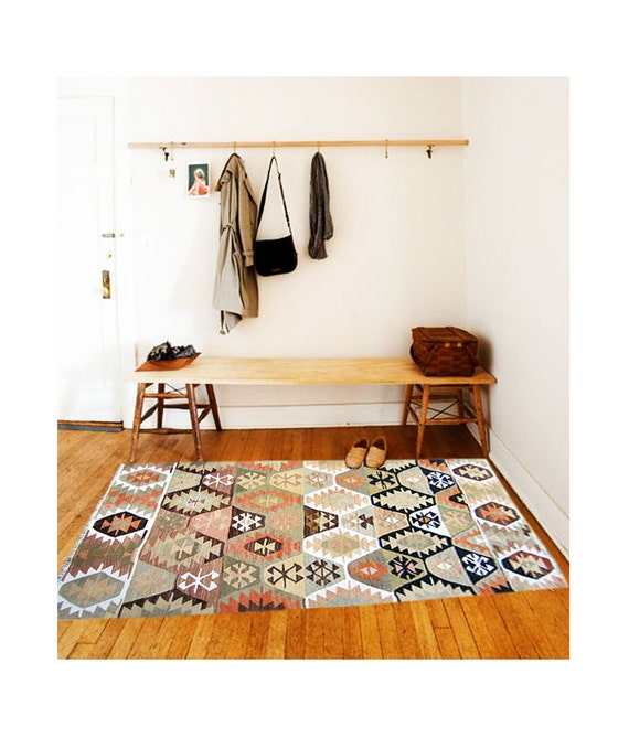 Rug Tribal Handwoven Vintage Kilim Old Ex Home Decor By