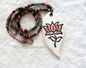 Large Lotus Flower Statement Focal Pendant Necklace Hand crafted ceramic pottery Spiritual Jewelry Red and Brown