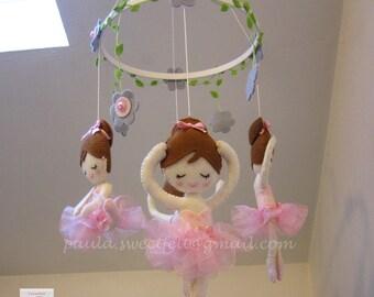 Baby  crib felt mobile ballerina